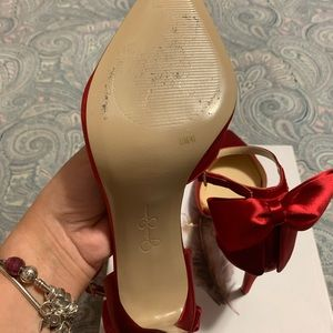 Red Satin Bow Shoes